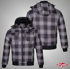 Mens Designer Lee Cooper Winter Checked Hooded Padded Jacket Top Size M L XL XXL