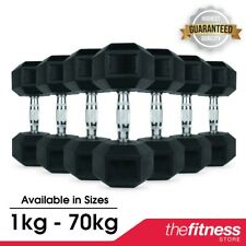 CoreX Hexagonal Rubber Hex Dumbbells 1-70kg FAST FREE DELIVERY