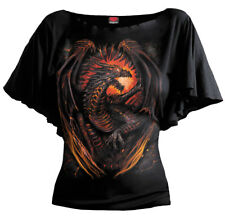 Spiral Dragon Furnace, Boat Neck Bat Sleeve Top Black|Dragon|Wings|Flames