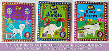 COLOUR BY NUMBERS & 350+ STICKERS BOOK 3D Scenes BUSY FARM Fun Pets WILD JUNGLE