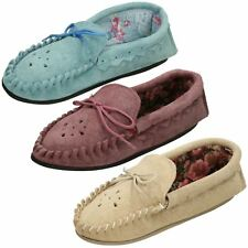 Ladies Moccasin Slip On Slippers 'Real Suede'