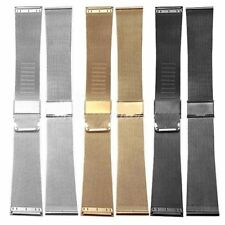 Stainless Steel Mesh Watch Band Strap Double Clasp Bracelet Buckle 18 20 22 24mm