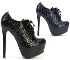 Womens Ladies Lace Up High Heel Stiletto Plalform Ankle Boots Shoes Size