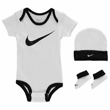 Nike Romper Hat & Booties 3 Piece Set Baby Boys White Black Size 0-6 Months New