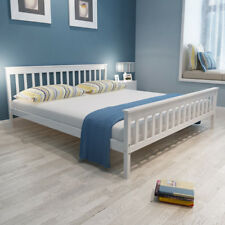 Cama Color Blanca de Madera Maciza de Pino Disponible 200x140/160/180 cm