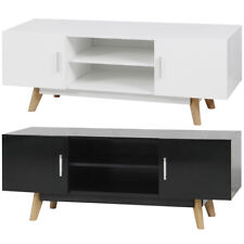 vidaXL Armario TV Brillo Alto de Color Negro/blanco Dimensiones 120x40x46 cm MDF