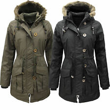 NEW Womens Parka Faux Fur Hooded Military Winter Ladies Jacket Coat Size 8-16