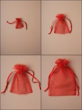 Red Organza Drawstring Pouch Bag Favour Wedding Sweets Present Wholesale Bulk