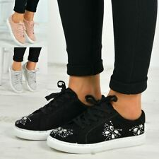 New Womens Casual Sneakers Flat Lace Up Diamante Trainers Pumps Shoes Size Uk