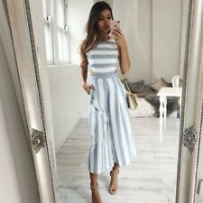 Striped jumpsuit Rompers Women Linen Cotton Overalls Ladies Casual Loose Female