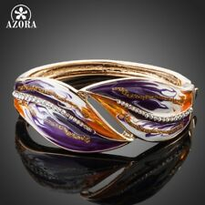18K Gold Plated Enamel Cuff Bangle Bracelet with Austrian Crystals & Oil Paint