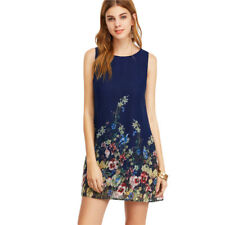 Womens Dresses Navy Buttoned Keyhole Back Floral Sleeveless A Line Female Cloth