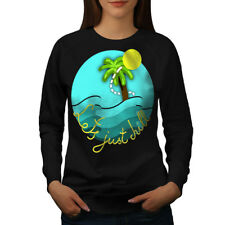 Wellcoda Chill Palm Travel Womens Sweatshirt, Relaxation Casual Pullover Jumper
