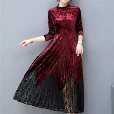 Velvet Dress Women Long Sleeve Elegant Dresses Vintage Work Business Office Wear