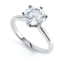 18ct White Gold Hallmarked Solitaire 6 Claw Engagement Ring - 1 Carat