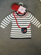 M&S COTTON KNIT DRESS IN WHITE,NAVY WITH RED PATTERNS + RED MATCHING TIGHTS-BNWT