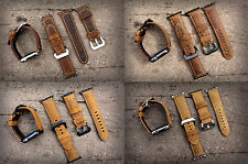 Brown Bull Leather Watch Strap Band for Apple Watch 38/42mm FREE GEL PROTECTOR