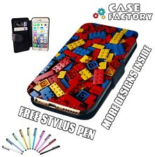 Red Yellow Blue Lego Blocks Bricks Fun - Mobile Leather Flip Wallet Case Cover