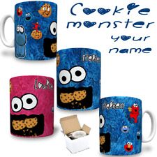 COOKIE MONSTER  Sesame Street Theme Printed Mug YOUR NAME Personalised