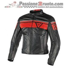 Giacca giubbotto moto pelle Dainese Blackjack Nero Rosso cafe racer old style