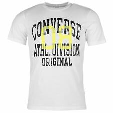 MENS WHITE BLACK CONVERSE ATHLETIC CREW NECK SHORT SLEEVE TEE SHIRT T-SHIRT TOP