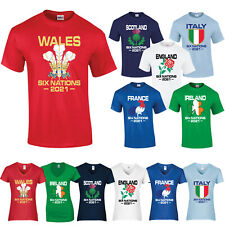 Six Nations 2018 T Shirt Rugby England Wales Scotland Ireland Italy France