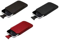 Ednet piel auténtica DESLIZABLE Funda con PULL-UP tab para iPhone 4 , itouch 4