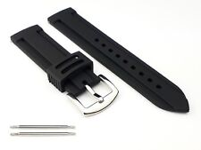 Black Chunky Divers Watch Strap 18 - 26mm Rubber Waterproof Replacement UK Stock