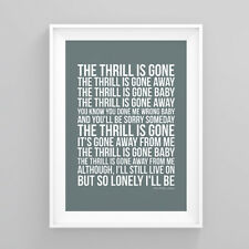 B.B. King The Thrill Is Gone Lyrics Print Poster Artwork