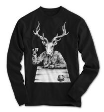 maniche lunghe Uomo HIPSTER CERVO VINTAGE ART DEER PARTY NUOVO S S-3XL dh23117ls