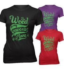 Mujer Slim Fit Camiseta HIERBA MARIHUANA lieblingspflanze Lleno Moon Party