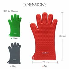 KaraMona Long Silicone Cooking Gloves Heat Resistant Oven Mitt for Grilling