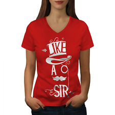 Sir Gentleman Joke Funny Women V-Neck T-shirt NEW | Wellcoda