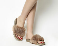 Womens Office Sambuca Faux Fur Pool Slides DUSTY PINK WITH ROSE GOLD SOLE Sandal