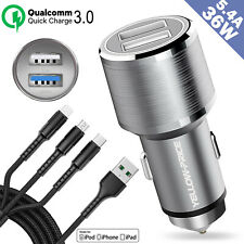 Dual USB Car Charger Cable Adapter Micro USB Type C For iPhone 5 6 7 8 X Samsung