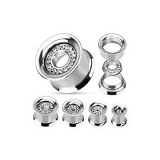 Flesh Tunnel - Piercing de plata Oído PLUG Circonia INLAY ACERO inox. screw Fit