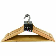 Adult Wooden Coat Hangers Clothes Hanging With Trouser Bar & Chrome Hook- Plain