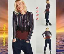 ZARA Striped T-Shirt With Blonde Lace Blue/Purple Long Sleeve New Top Size:S M
