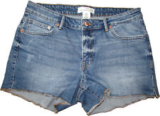 Ex H&M Womens Denim Short Shorts Hot Pants Slight Distressed Cut Off Raw Edge