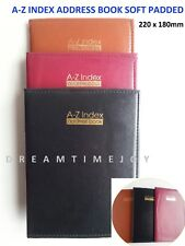 A - Z Index Leather Cover Executive Padded Address Book Assorted Midi Size