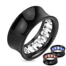 Flesh Tunnel - INLAY CRISTAL Enchufe de acrílico Double flared Negro piercing