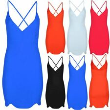 Womens Party Mini Dress Ladies Spaghetti Cami Strap Slim Fit Party Bodycon Dress