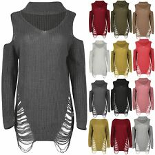 Womens Choker Neck Ladies Oversized Cut Out Shoulder Destroyed Chunky Mini Dress