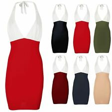 Ladies Womens Halter V-Neck Tie Back Knot Backless Contrast Bodycon Tunic Dress