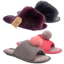 New Womens Ladies Furry Warm Flat Indoor Soft Slip On Slippers Mules Sizes Uk