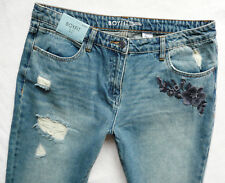 BNWT NEXT Relaxed Boyfit rips embroidered tapered leg mid rise jeans 8/12/14 P/R