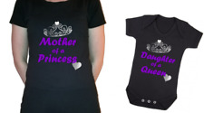 Mother's Day Mother of Princess Daughter  Queen matching set t-shirt baby vest