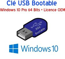 Clé USB 8Go Bootable Windows 10 Pro 64 Bits + Licence OEM activation