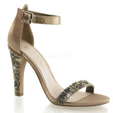 Sandali Gioiello Donna Strass Raso CHAMPAGNE Tacco 11,5 Pleaser Clearly-436