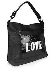 Hobo Bag Handtasche unifarben Pailletten LOVE Damen Tasche Shopper